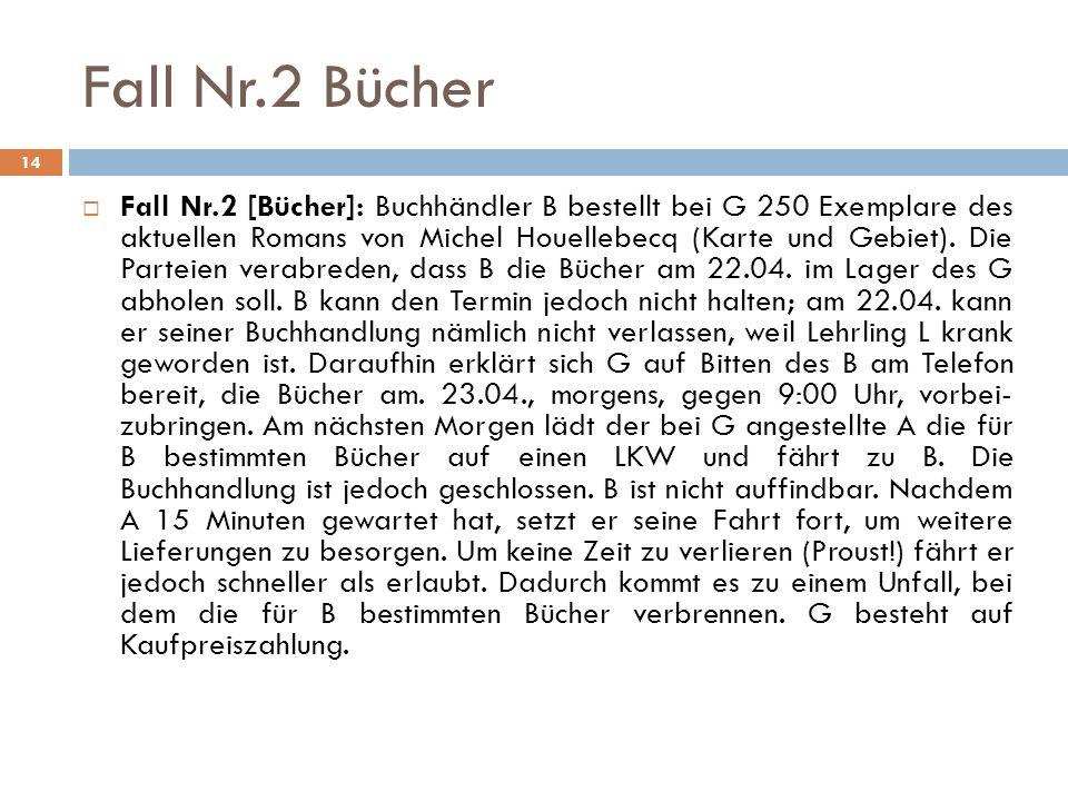 Fall Nr.2 Bücher 14 Fall Nr.2 [Bücher]: Buchhändler B bestellt bei G 250 Exemplare des aktuellen Romans von Michel Houellebecq (Karte und Gebiet). Die