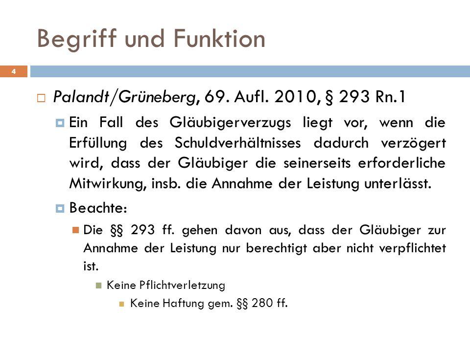 4 Palandt/Grüneberg, 69. Aufl. 2010, § 293 Rn.1 Ein Fall des Gläubigerverzugs liegt vor, wenn die Erfüllung des Schuldverhältnisses dadurch verzögert