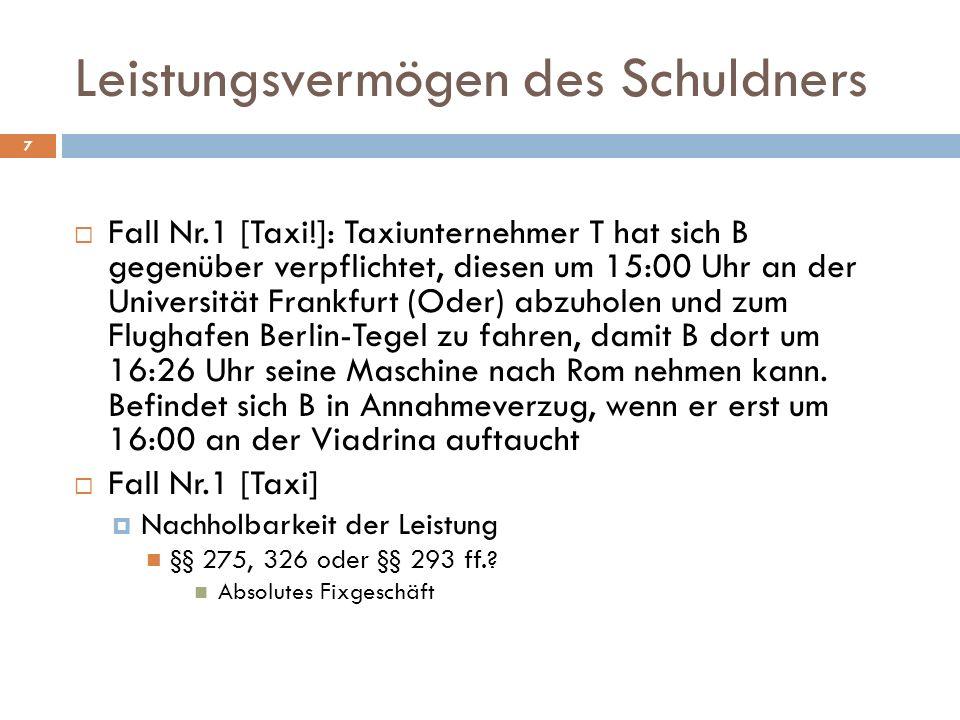 7 Fall Nr.1 [Taxi!]: Taxiunternehmer T hat sich B gegenüber verpflichtet, diesen um 15:00 Uhr an der Universität Frankfurt (Oder) abzuholen und zum Fl