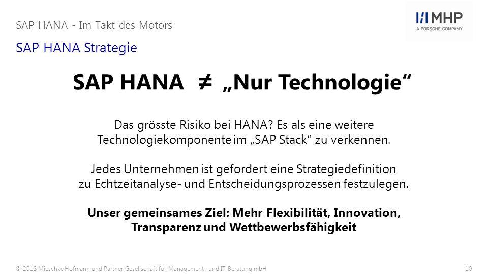 © 2013 Mieschke Hofmann und Partner Gesellschaft für Management- und IT-Beratung mbH10 SAP HANA Strategie Das grösste Risiko bei HANA? Es als eine wei