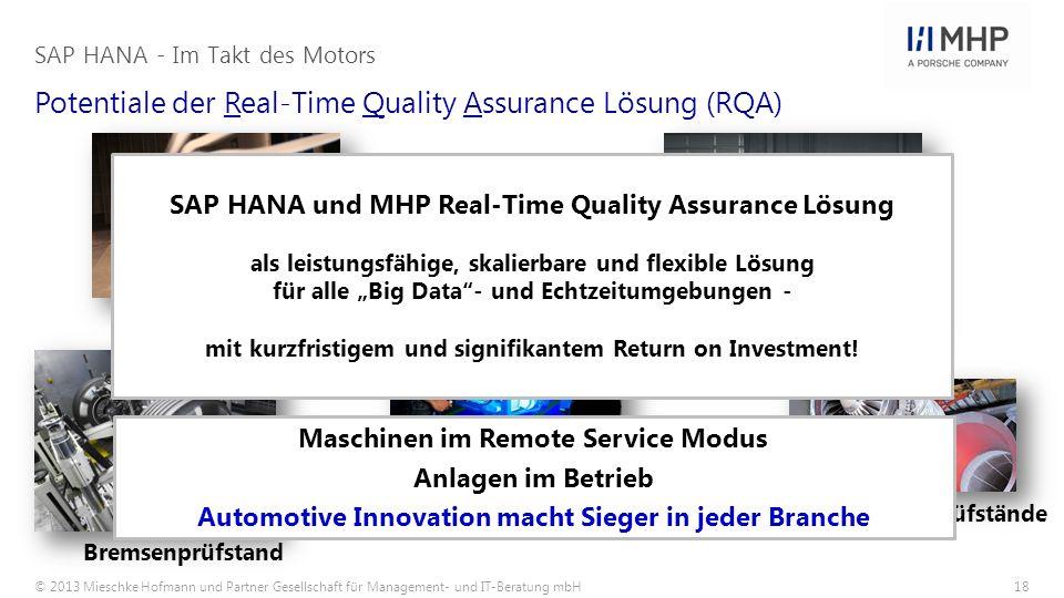 © 2013 Mieschke Hofmann und Partner Gesellschaft für Management- und IT-Beratung mbH18 Potentiale der Real-Time Quality Assurance Lösung (RQA) SAP HAN