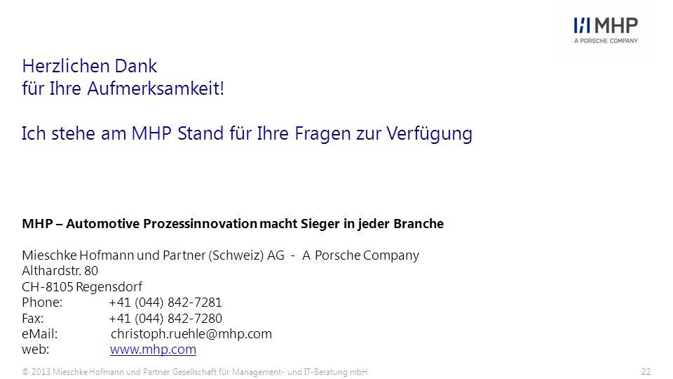 © 2013 Mieschke Hofmann und Partner Gesellschaft für Management- und IT-Beratung mbH22 MHP – Automotive Prozessinnovation macht Sieger in jeder Branch