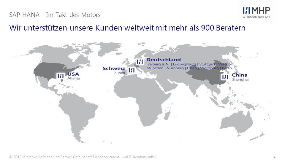 © 2013 Mieschke Hofmann und Partner Gesellschaft für Management- und IT-Beratung mbH4 Wir unterstützen unsere Kunden weltweit mit mehr als 900 Berater