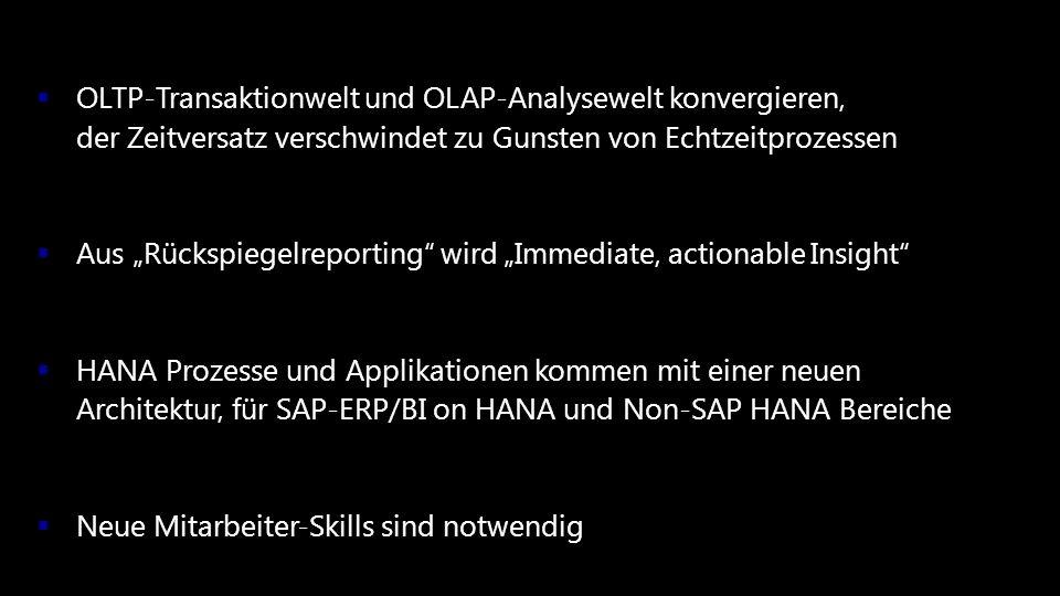 © 2013 Mieschke Hofmann und Partner Gesellschaft für Management- und IT-Beratung mbH9 OLTP-Transaktionwelt und OLAP-Analysewelt konvergieren, der Zeit