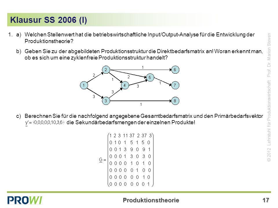 Produktionstheorie17 © 2012 Lehrstuhl für Produktionswirtschaft Prof.