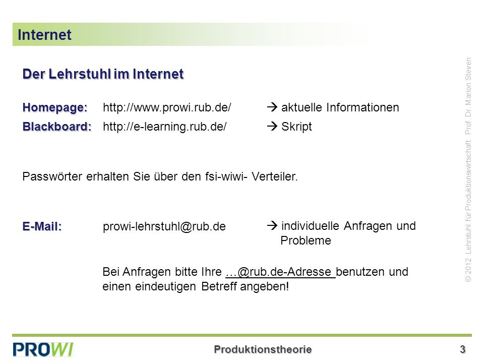 Produktionstheorie3 © 2012 Lehrstuhl für Produktionswirtschaft Prof.