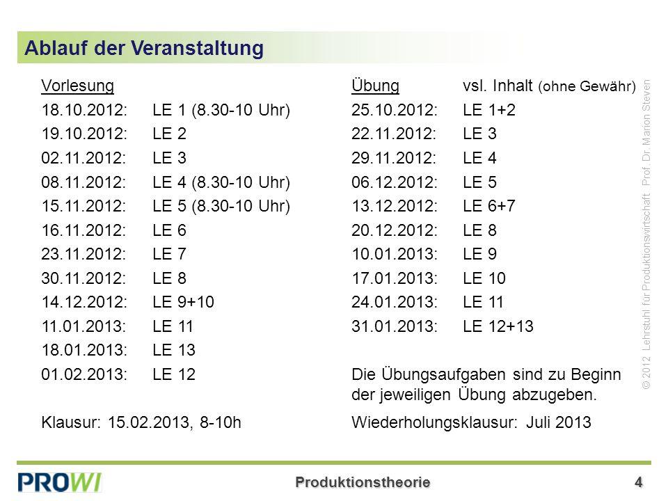 Produktionstheorie35 © 2012 Lehrstuhl für Produktionswirtschaft Prof.