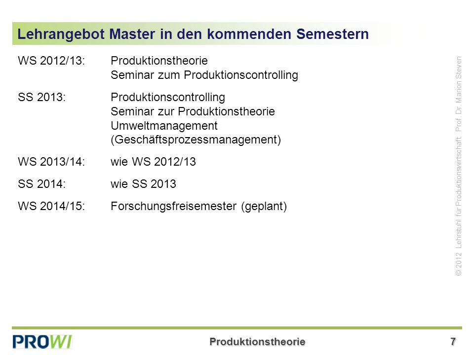 Produktionstheorie28 © 2012 Lehrstuhl für Produktionswirtschaft Prof.
