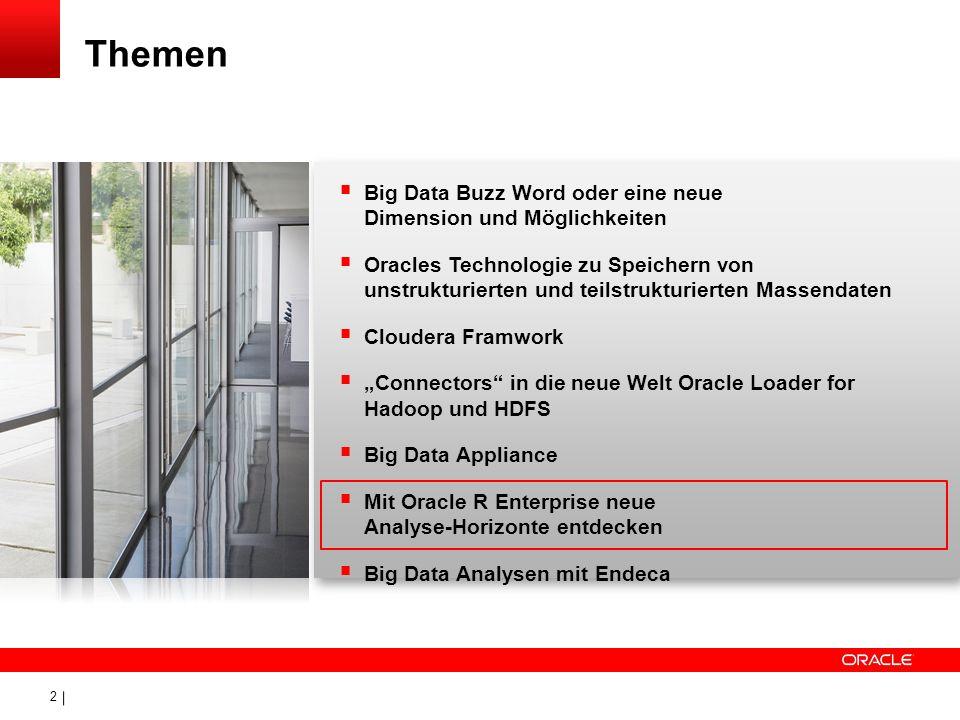 3 Anforderungen Warum R Die R-Entwicklungsumgebung Oracle R- Enterprise Der transparente Tabellen-Zugriff Statistische Analysen mit R in der Datenbank Visualisierung von Ergebnissen (Plotting) Visualisierung von Ergebnissen (OBIEE) Einbinden in umfangreiche Analyse-Szenarien Themen