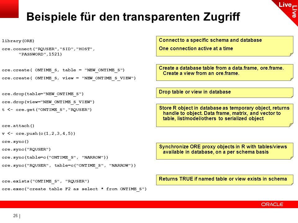 26 Beispiele für den transparenten Zugriff library(ORE) ore.connect(