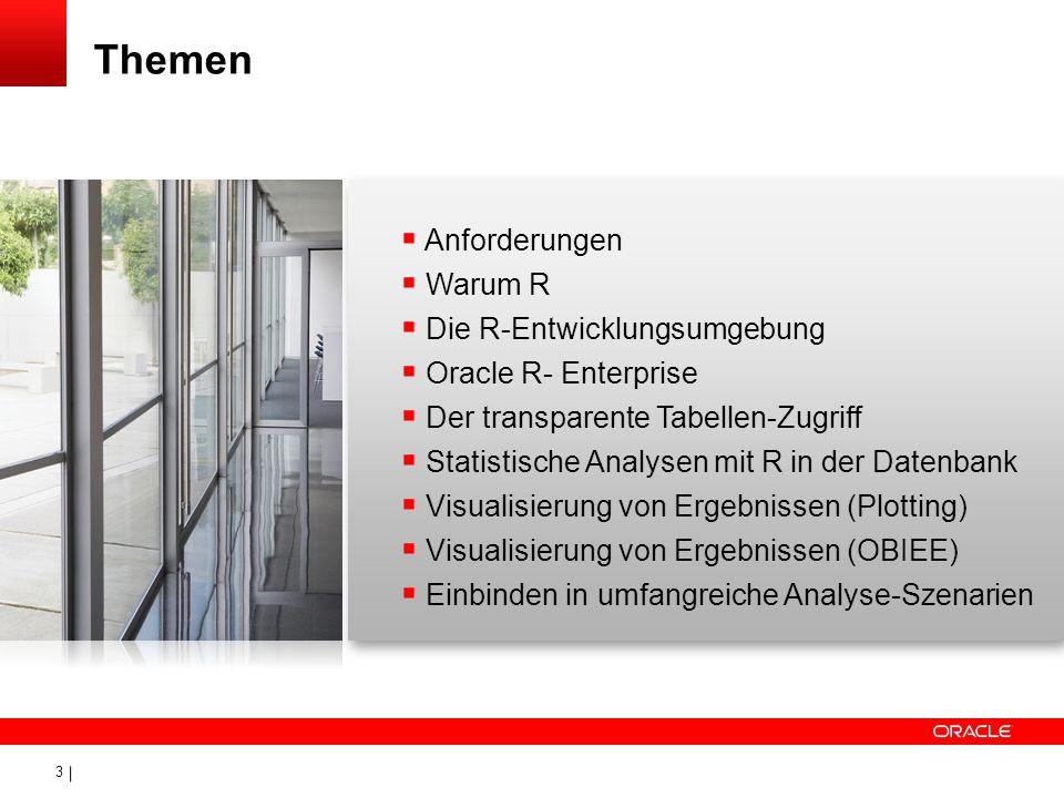 3 Anforderungen Warum R Die R-Entwicklungsumgebung Oracle R- Enterprise Der transparente Tabellen-Zugriff Statistische Analysen mit R in der Datenbank
