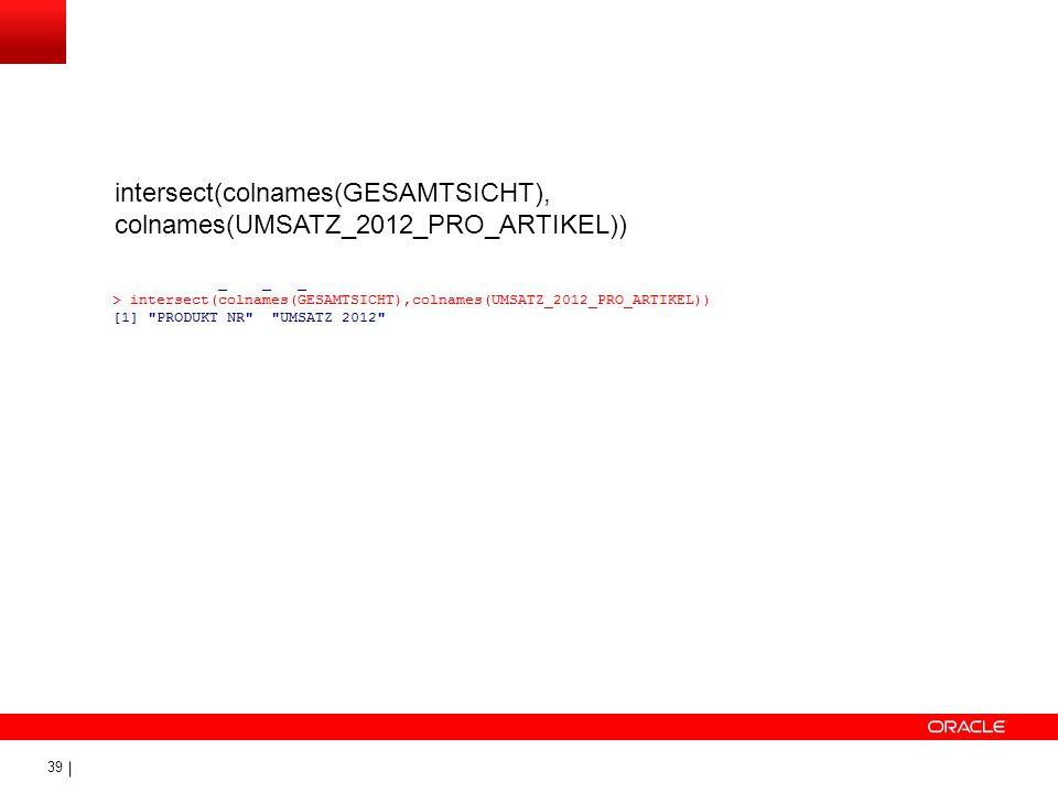 39 intersect(colnames(GESAMTSICHT), colnames(UMSATZ_2012_PRO_ARTIKEL))