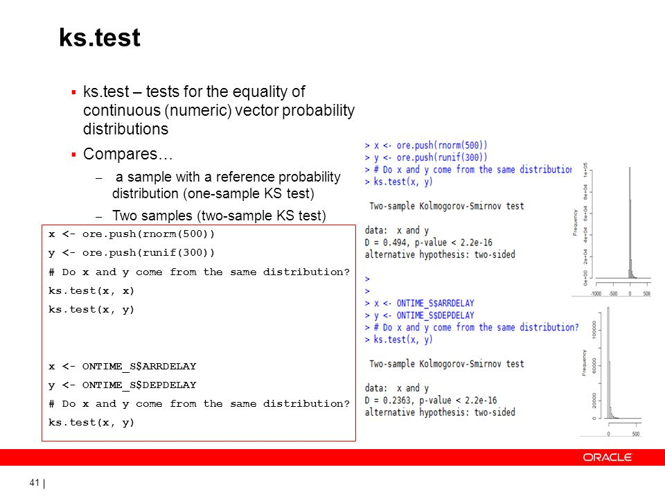 41 ks.test ks.test – tests for the equality of continuous (numeric) vector probability distributions Compares… – a sample with a reference probability