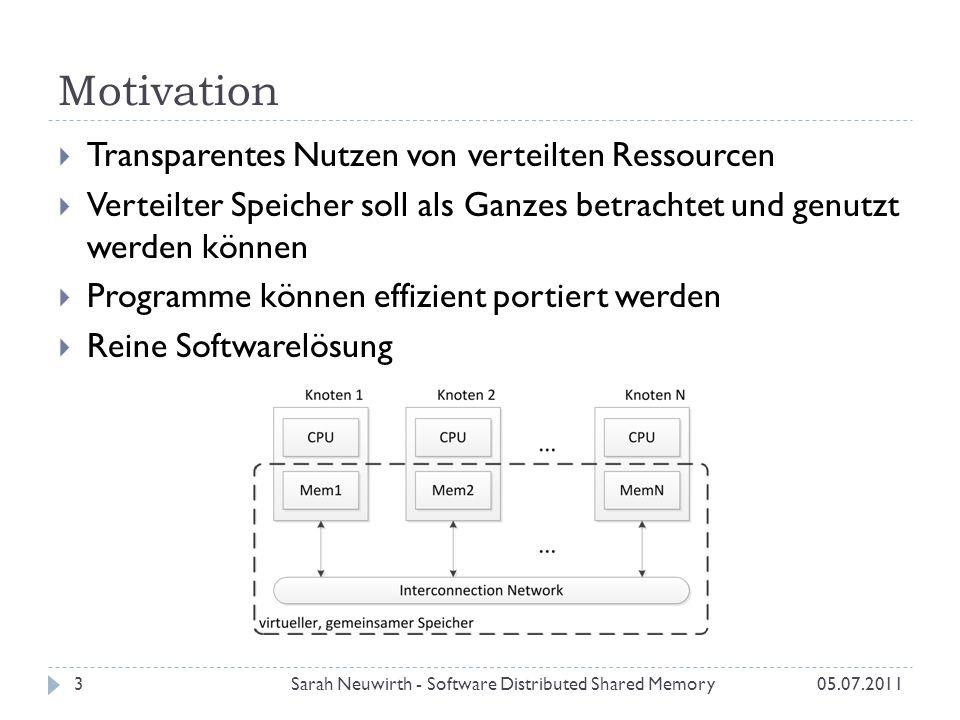 Motivation Sarah Neuwirth - Software Distributed Shared Memory3 Transparentes Nutzen von verteilten Ressourcen Verteilter Speicher soll als Ganzes betrachtet und genutzt werden können Programme können effizient portiert werden Reine Softwarelösung 05.07.2011