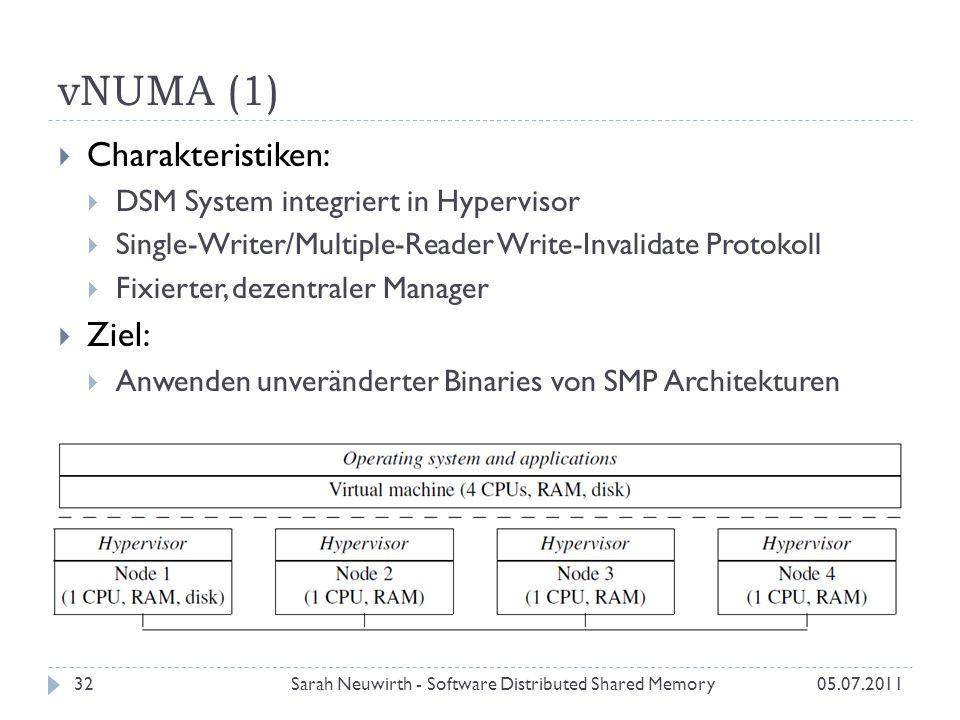 vNUMA (1) Sarah Neuwirth - Software Distributed Shared Memory3205.07.2011 Charakteristiken: DSM System integriert in Hypervisor Single-Writer/Multiple-Reader Write-Invalidate Protokoll Fixierter, dezentraler Manager Ziel: Anwenden unveränderter Binaries von SMP Architekturen