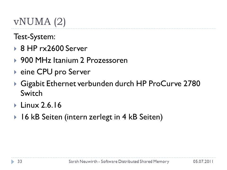 vNUMA (2) Sarah Neuwirth - Software Distributed Shared Memory33 Test-System: 8 HP rx2600 Server 900 MHz Itanium 2 Prozessoren eine CPU pro Server Gigabit Ethernet verbunden durch HP ProCurve 2780 Switch Linux 2.6.16 16 kB Seiten (intern zerlegt in 4 kB Seiten) 05.07.2011