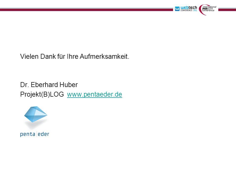 Vielen Dank für Ihre Aufmerksamkeit. Dr. Eberhard Huber Projekt(B)LOG www.pentaeder.dewww.pentaeder.de