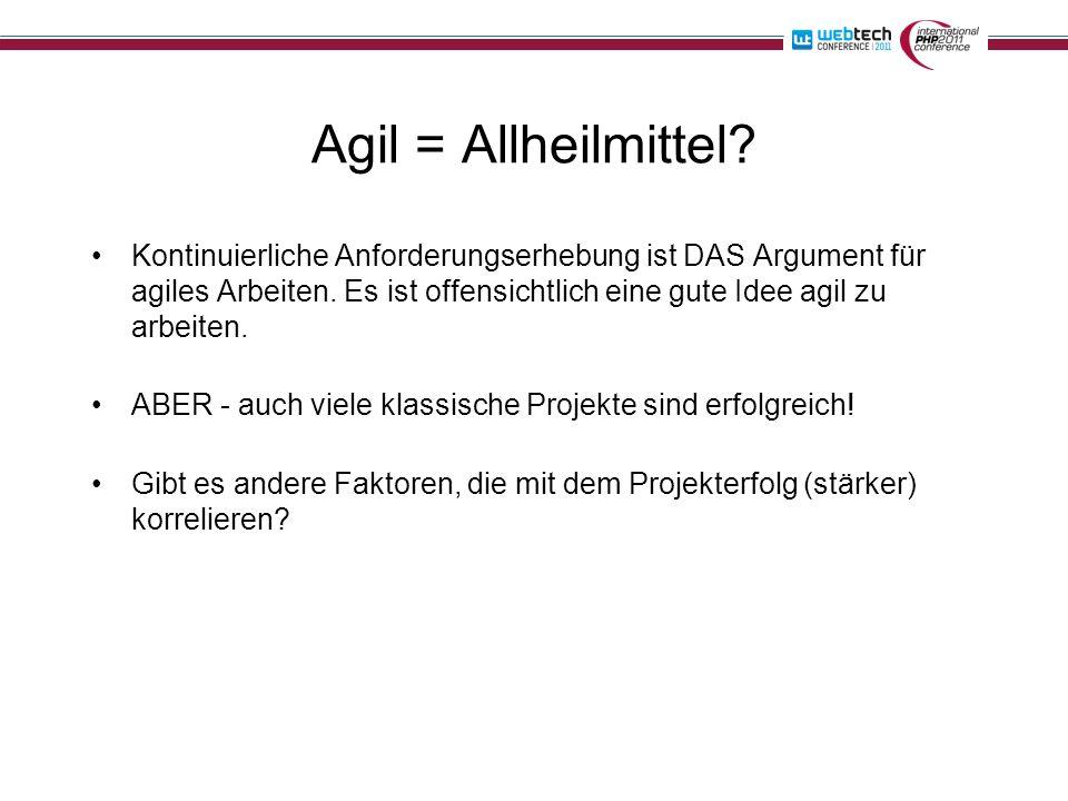 Agil = Allheilmittel.Kontinuierliche Anforderungserhebung ist DAS Argument für agiles Arbeiten.