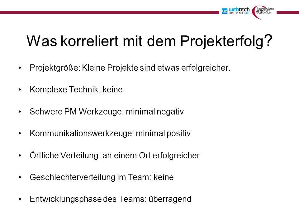 Was korreliert mit dem Projekterfolg ? Projektgröße: Kleine Projekte sind etwas erfolgreicher. Komplexe Technik: keine Schwere PM Werkzeuge: minimal n