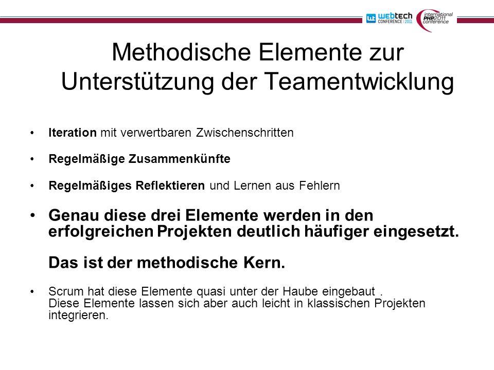 Methodische Elemente zur Unterstützung der Teamentwicklung Iteration mit verwertbaren Zwischenschritten Regelmäßige Zusammenkünfte Regelmäßiges Reflektieren und Lernen aus Fehlern Genau diese drei Elemente werden in den erfolgreichen Projekten deutlich häufiger eingesetzt.