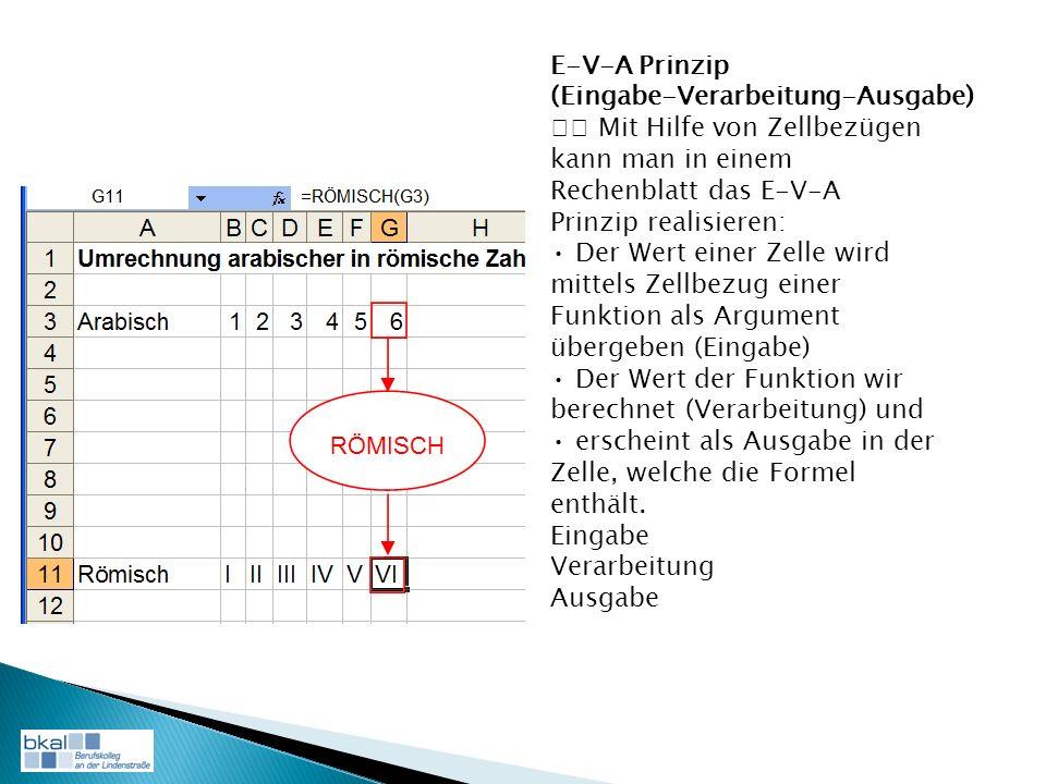E-V-A Prinzip (Eingabe-Verarbeitung-Ausgabe) Mit Hilfe von Zellbezügen kann man in einem Rechenblatt das E-V-A Prinzip realisieren: Der Wert einer Zelle wird mittels Zellbezug einer Funktion als Argument übergeben (Eingabe) Der Wert der Funktion wir berechnet (Verarbeitung) und erscheint als Ausgabe in der Zelle, welche die Formel enthält.
