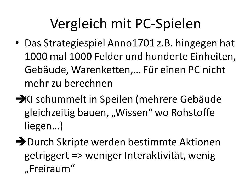 Vergleich mit PC-Spielen Das Strategiespiel Anno1701 z.B. hingegen hat 1000 mal 1000 Felder und hunderte Einheiten, Gebäude, Warenketten,… Für einen P