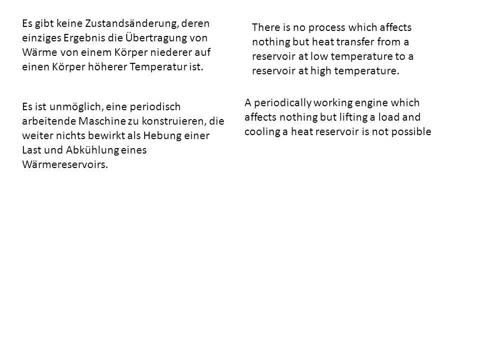 Es gibt keine Zustandsänderung, deren einziges Ergebnis die Übertragung von Wärme von einem Körper niederer auf einen Körper höherer Temperatur ist.