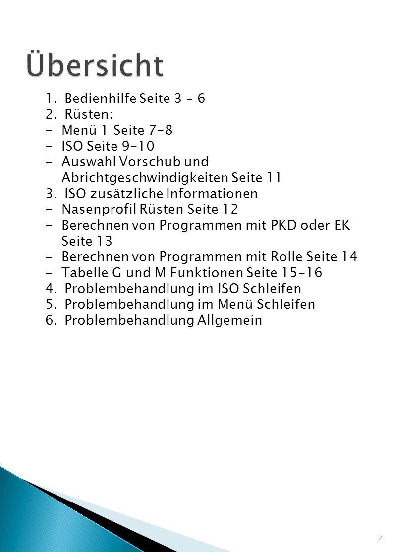 2 1.Bedienhilfe Seite 3 – 6 2.Rüsten: -Menü 1 Seite 7-8 -ISO Seite 9-10 -Auswahl Vorschub und Abrichtgeschwindigkeiten Seite 11 3.ISO zusätzliche Info