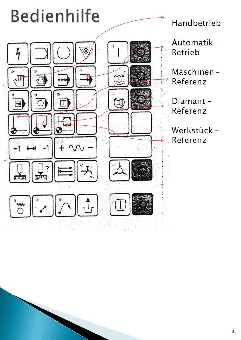 3 Handbetrieb Automatik – Betrieb Maschinen – Referenz Diamant – Referenz Werkstück – Referenz