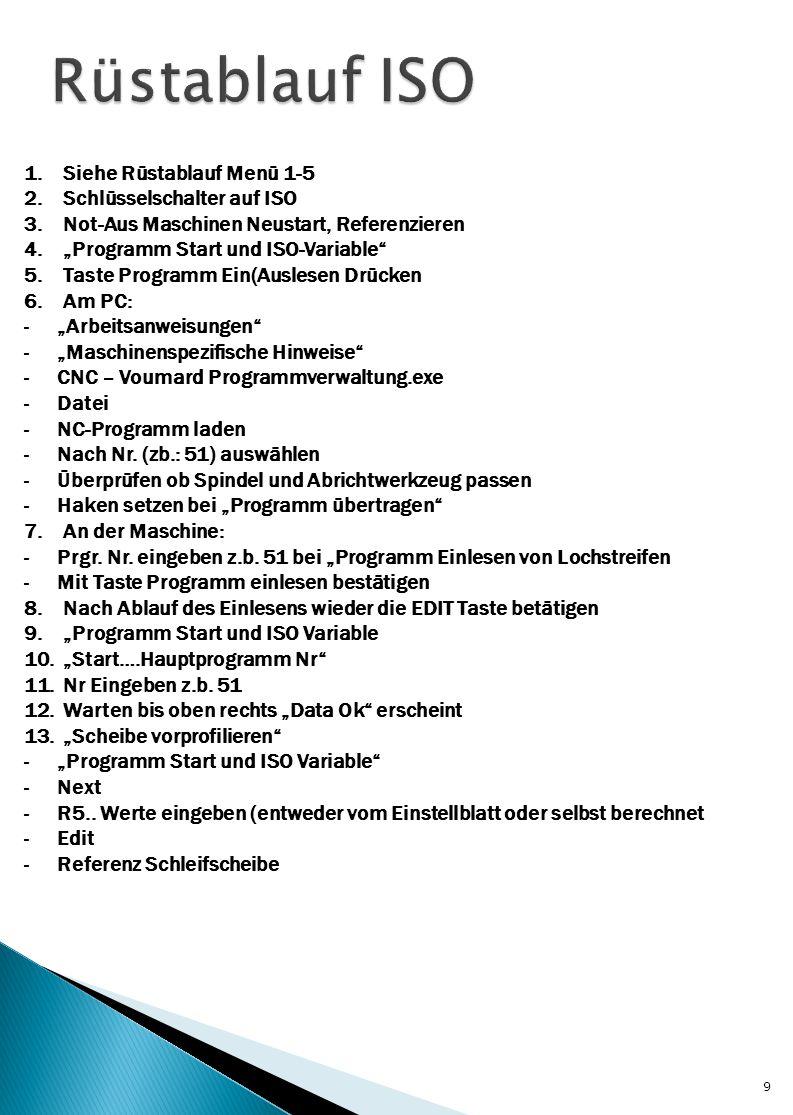 9 1.Siehe Rüstablauf Menü 1-5 2.Schlüsselschalter auf ISO 3.Not-Aus Maschinen Neustart, Referenzieren 4.Programm Start und ISO-Variable 5.Taste Progra