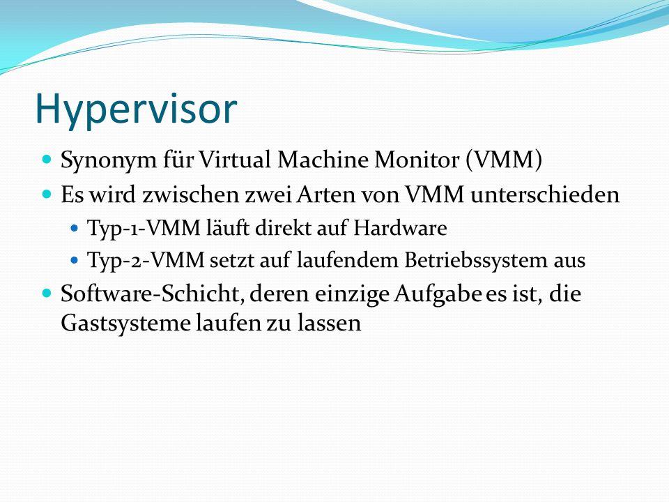 Xen 3 Hardware XEN API Virtuelle CPU Virtuelles RAM Virtuelle Block-Geräte Virtuelles Netzwerk Gast 1 z.B.