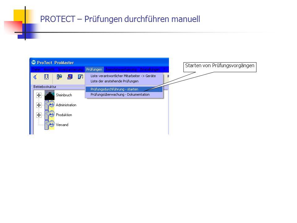 PROTECT – Prüfungen durchführen manuell Starten von Prüfungsvorgängen