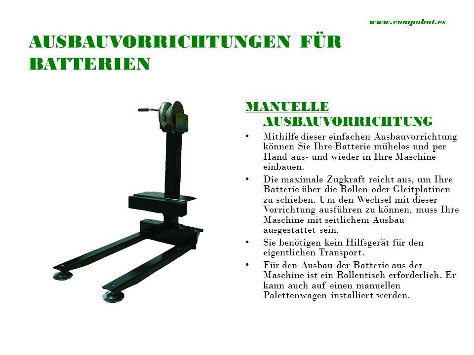 www.compobat.es HALBAUTOMATISCHE AUSBAUVORRICHTUNG Mithilfe dieser einfachen Ausbauvorrichtung können Sie Ihre Batterie mühelos und halbautomatisch aus- und wieder in Ihre Maschine einbauen.