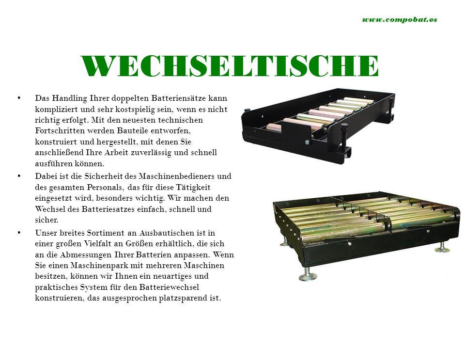 www.compobat.es WECHSELTISCHE Das Handling Ihrer doppelten Batteriensätze kann kompliziert und sehr kostspielig sein, wenn es nicht richtig erfolgt.