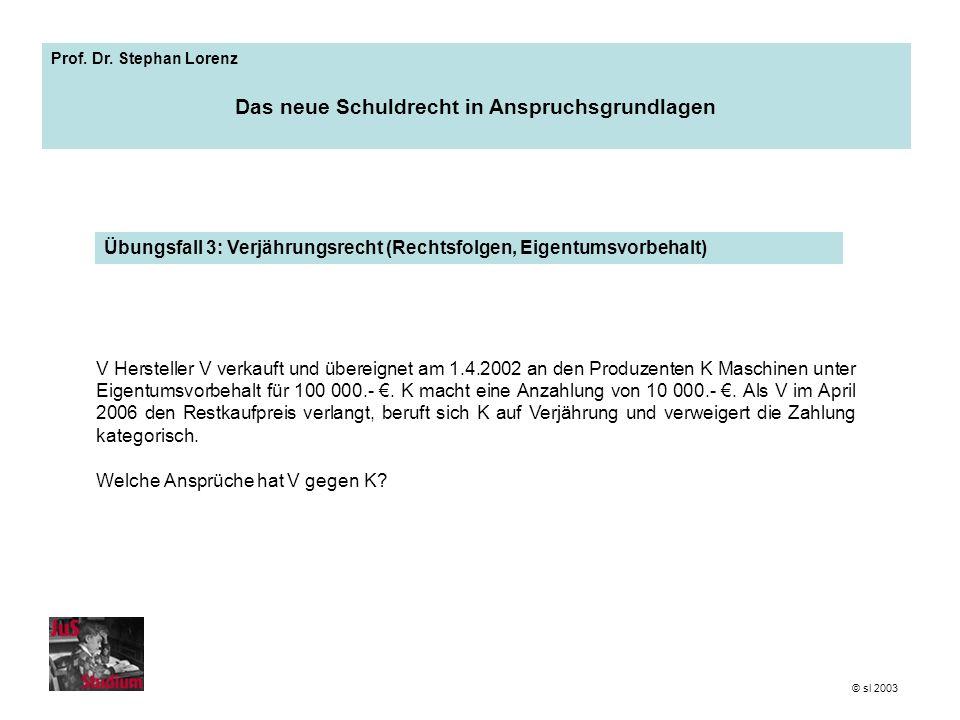 Prof. Dr. Stephan Lorenz Das neue Schuldrecht in Anspruchsgrundlagen Übungsfall 3: Verjährungsrecht (Rechtsfolgen, Eigentumsvorbehalt) © sl 2003 V Her