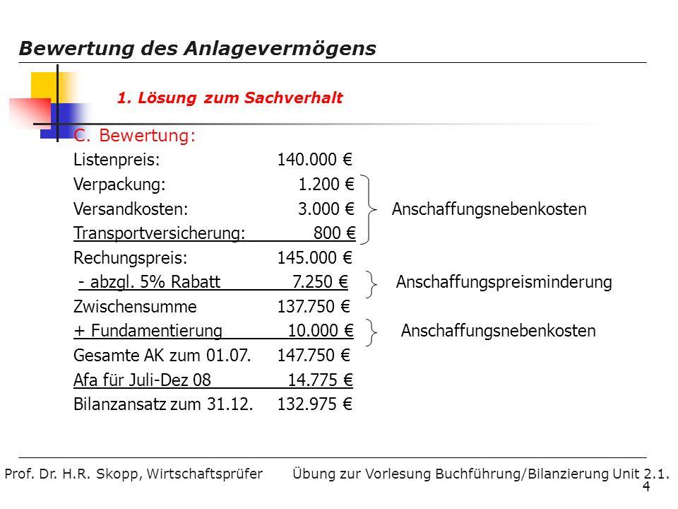Prof. Dr. H.R. Skopp, Wirtschaftsprüfer Bewertung des Anlagevermögens Übung zur Vorlesung Buchführung/Bilanzierung Unit 2.1. 4 1. Lösung zum Sachverha
