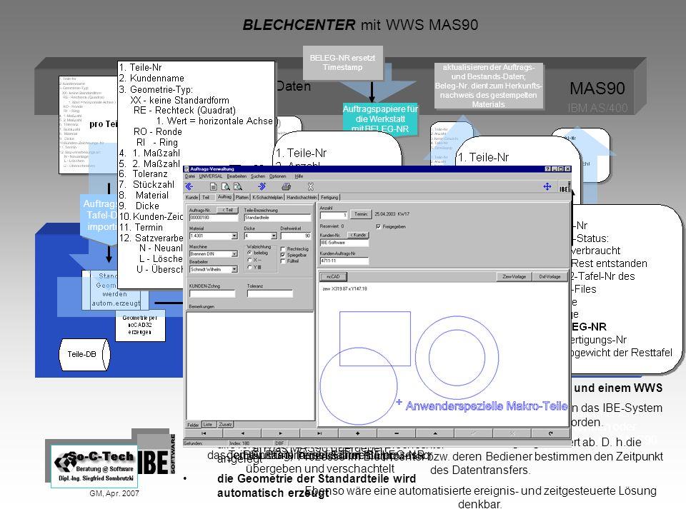 BLECHCENTER mit WWS MAS90 GM, Apr. 2007 IBE-BLECHCENTER Auftragspapiere für die Werkstatt mit BELEG-NR Auftragspapiere für die Werkstatt mit BELEG-NR