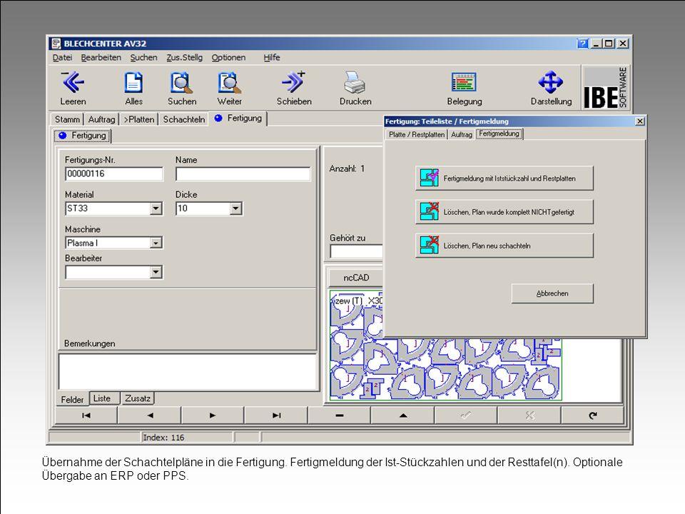 Übernahme der Schachtelpläne in die Fertigung. Fertigmeldung der Ist-Stückzahlen und der Resttafel(n). Optionale Übergabe an ERP oder PPS.