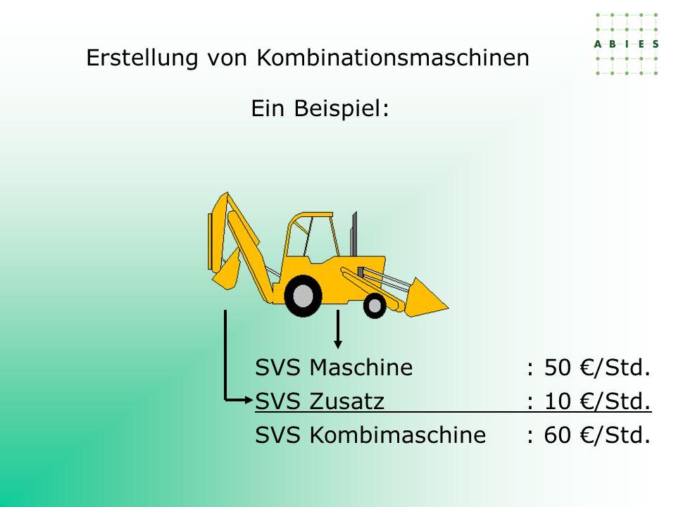 SVS Maschine: 50 /Std. SVS Zusatz: 10 /Std. SVS Kombimaschine: 60 /Std. Ein Beispiel: