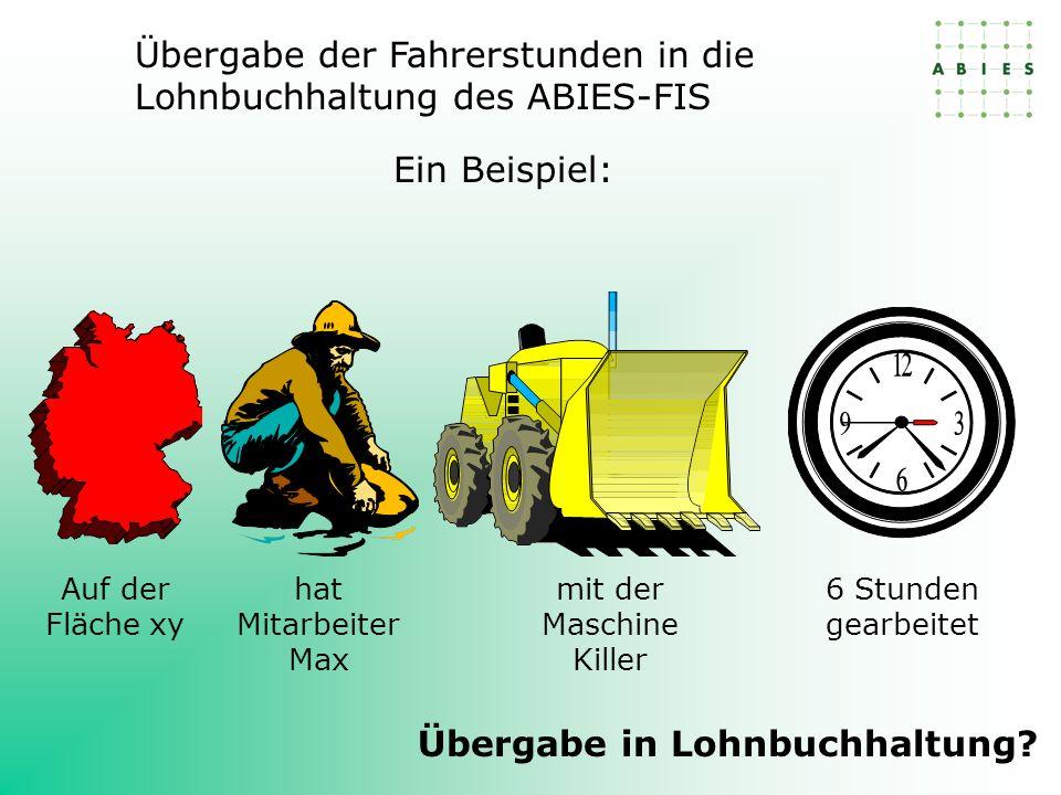 Ein Beispiel: Übergabe der Fahrerstunden in die Lohnbuchhaltung des ABIES-FIS Auf der Fläche xy mit der Maschine Killer 6 Stunden gearbeitet hat Mitarbeiter Max Übergabe in Lohnbuchhaltung