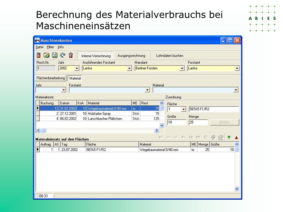 Berechnung des Materialverbrauchs bei Maschineneinsätzen