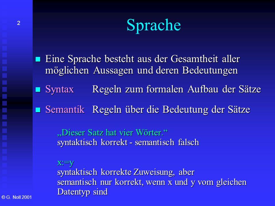 © G. Noll 2001 2 Sprache Eine Sprache besteht aus der Gesamtheit aller möglichen Aussagen und deren Bedeutungen Eine Sprache besteht aus der Gesamthei