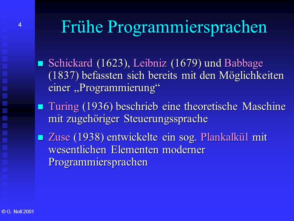 © G. Noll 2001 4 Frühe Programmiersprachen Schickard (1623), Leibniz (1679) und Babbage (1837) befassten sich bereits mit den Möglichkeiten einer Prog