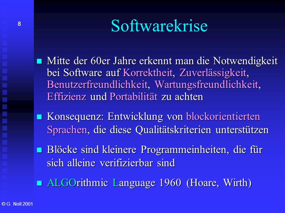 © G. Noll 2001 8 Softwarekrise Mitte der 60er Jahre erkennt man die Notwendigkeit bei Software auf Korrektheit, Zuverlässigkeit, Benutzerfreundlichkei