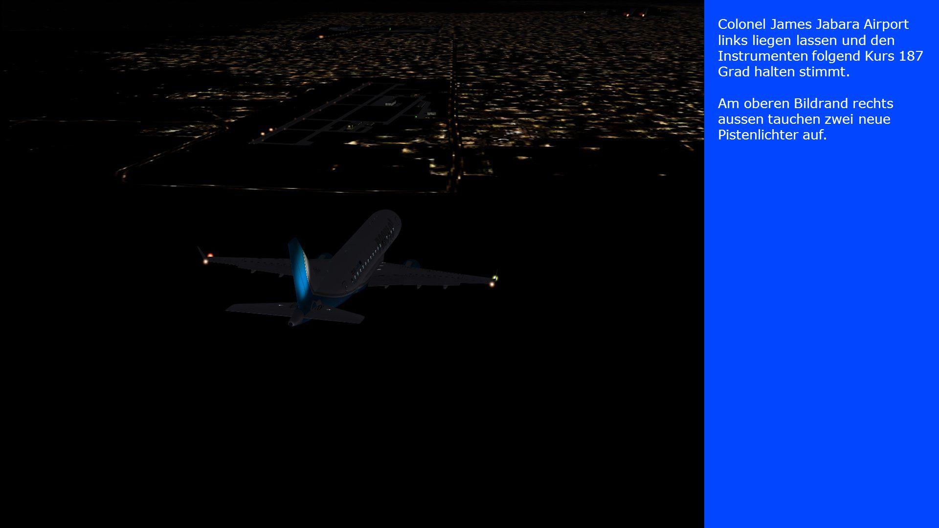 Colonel James Jabara Airport links liegen lassen und den Instrumenten folgend Kurs 187 Grad halten stimmt. Am oberen Bildrand rechts aussen tauchen zw