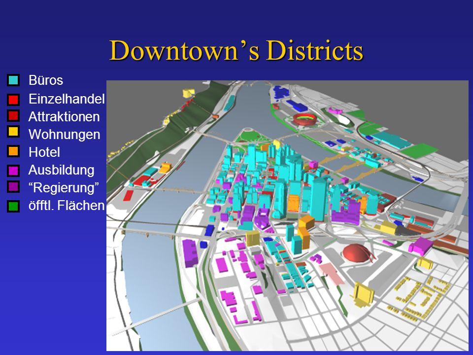 Downtowns Districts Büros Einzelhandel Attraktionen Wohnungen Hotel Ausbildung Regierung öfftl.