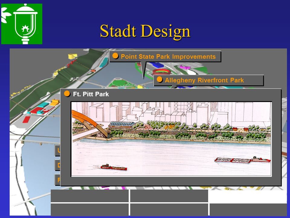 Stadt Design Pedestrian Wayfinding Design Guidelines Urban Connection Allegheny Riverfront Park Point State Park Improvements Ft. Pitt Park