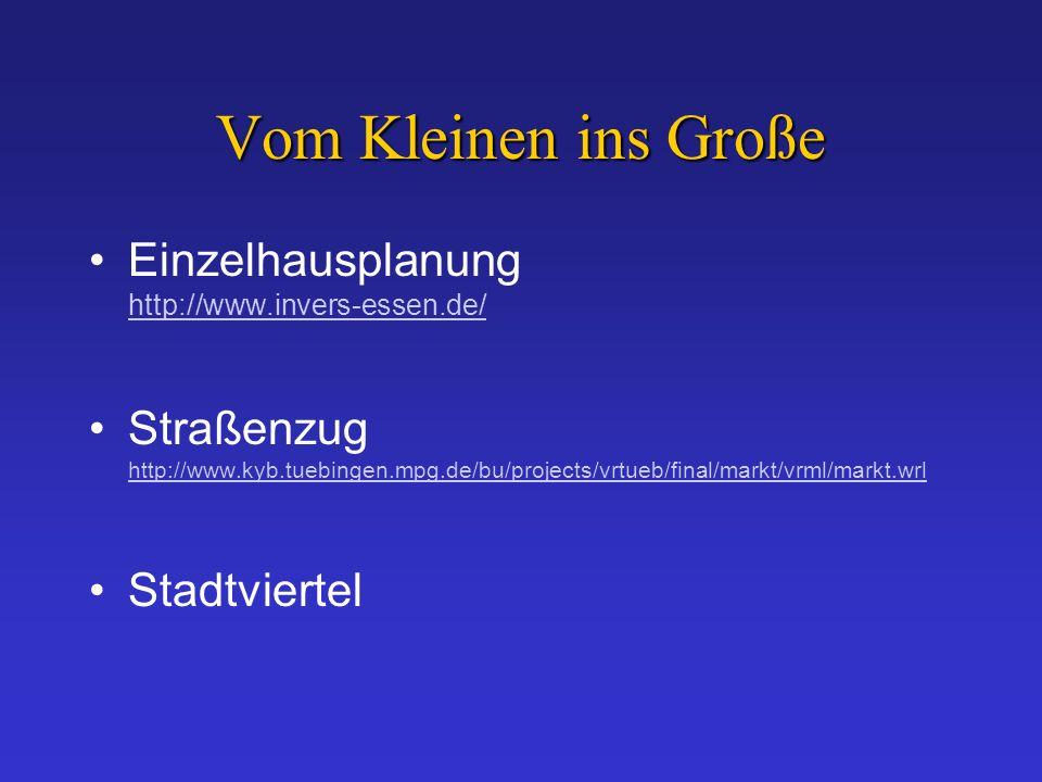 Vom Kleinen ins Große Einzelhausplanung http://www.invers-essen.de/ http://www.invers-essen.de/ Straßenzug http://www.kyb.tuebingen.mpg.de/bu/projects/vrtueb/final/markt/vrml/markt.wrl http://www.kyb.tuebingen.mpg.de/bu/projects/vrtueb/final/markt/vrml/markt.wrl Stadtviertel