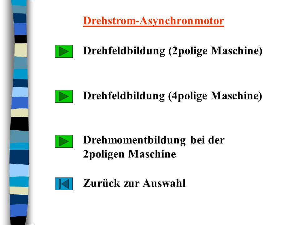 Drehfeldbildung (2polige Maschine) Drehmomentbildung bei der 2poligen Maschine Drehfeldbildung (4polige Maschine) Zurück zur Auswahl Drehstrom-Asynchr