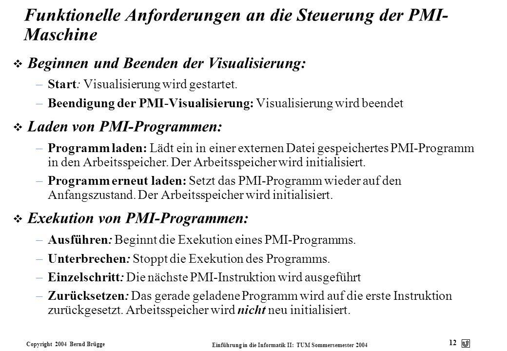 Copyright 2004 Bernd Brügge Einführung in die Informatik II: TUM Sommersemester 2004 12 Funktionelle Anforderungen an die Steuerung der PMI- Maschine